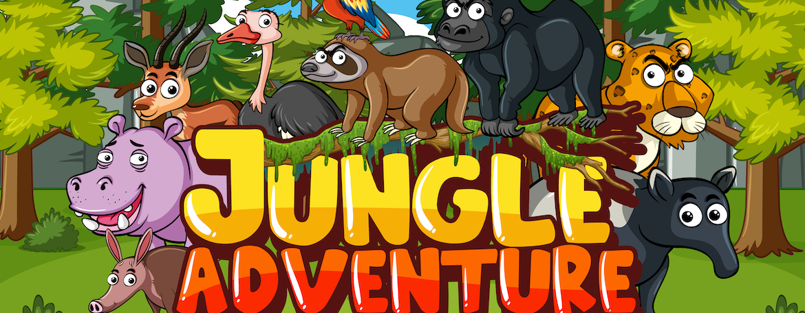forest scene with word jungle adventure and wild animals